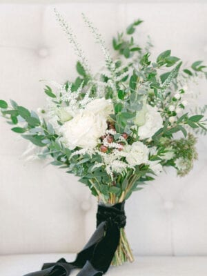 Bouquet of white flowers and green