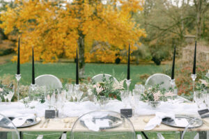 Wedding table laid out in the garden